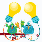Two Birds Sitting On Branch Hold Socket Light Bulb New Idea Concept Flat Stock Photography
