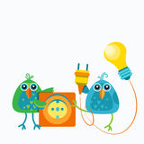 Two Birds Sitting Hold Socket Outlet Plugging Light Bulb Connection Concept Flat Royalty Free Stock Photography