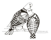 Two birds are sitting on a tree branch, zentangle stylized pigeo Royalty Free Stock Photo