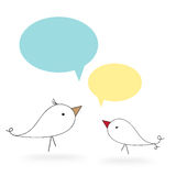 Two birds with speech bubble. On white background royalty free illustration