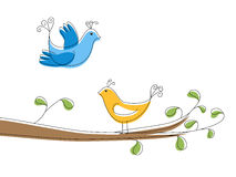Two birds on the tree branch Stock Image