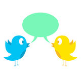 Two birds tweeting. Concept of social media and web. isolated on white background. vector illustration Stock Photos