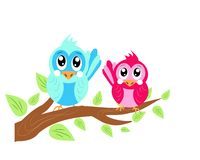 Two birds on twig of tree Royalty Free Stock Images