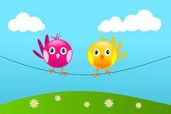 Two birds on wire Royalty Free Stock Images