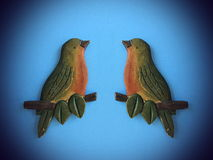 Two birds, wood carving Royalty Free Stock Images
