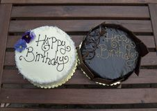 Free Two Birthday Cakes, One Chocolate And One Vanilla Royalty Free Stock Photography - 126136757