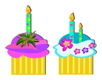 Two Birthday Cupcakes. Here are some colorful decorated cupcakes to celebrate Stock Images