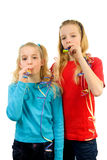 Two Birthday girls. With noisemaker over white background Stock Images