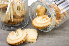 Two biscuit glass jars with biscuits Royalty Free Stock Photography