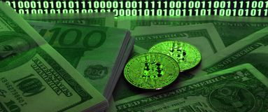 Two bitcoins lies on a pile of dollar bills on the background of a monitor depicting a binary code of bright green zeros and one u. Nits on a black background stock images