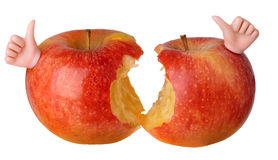 Two bitten red apples Royalty Free Stock Photos