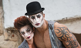 Two Bizarre Comedy Performers. Strange pair of male and female cirque performers Stock Photos