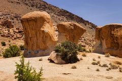 Two bizarre rock formations in northern Morocco stock photos
