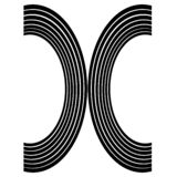 Two black arc like a rainbow, the letter x.  stock illustration