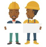 Two black architects wearing protection helmets Royalty Free Stock Photos