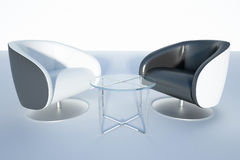 Two black armchairs with glass table Royalty Free Stock Image