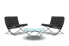Two black armchairs with table isolated on white stock photos