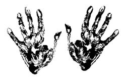 Two Black Art Hand Prints. Vector grunge illustration Vector Illustration