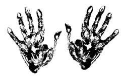 Two Black Art Hand Prints. Vector grunge illustration vector illustration