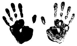 Two Black Art Hand Prints Stock Photo