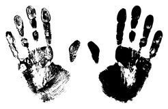 Two Black Art Hand Prints. Vector grunge illustration Royalty Free Stock Photography