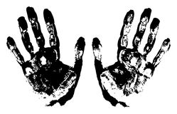 Two Black Art Hand Prints. Vector grunge illustration Royalty Free Stock Photo