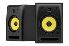 Two black audio speakers isolated on white Stock Photo