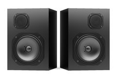 Two black audio speakers isolated on white Royalty Free Stock Image
