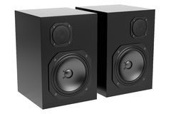 Two black audio speakers isolated on white Royalty Free Stock Images