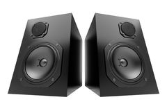 Two black audio speakers isolated on white Stock Photography
