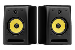 Two black audio speakers isolated on white Stock Images
