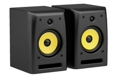 Two black audio speakers isolated on white Royalty Free Stock Photo