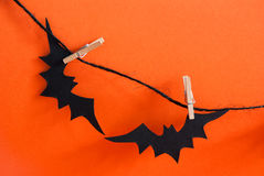 Two Black Bats on a Line Stock Images