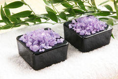 Two black bowls filled with purple healing salt Royalty Free Stock Photography