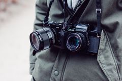 Two Black Bridge and Dslr Cameras Stock Images