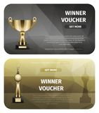 Two Black and Brown Winner Voucher with Gold Cups. Two black and brown winner vouchers with gold cups. Golden chalice and trophy with human holds laurel wreath Stock Photo