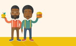 Two black businessmen comparing apple to hamburger Royalty Free Stock Images