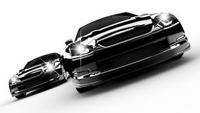 Two black cars. Run on a white background Royalty Free Stock Images