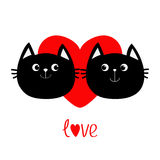 Two black cat head couple family icon. Red heart. Cute funny cartoon character. Word love Valentines day Greeting card. Kitty Whis Stock Image
