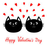 Two black cat head couple family icon. Red heart set. Cute funny cartoon character. Happy Valentines day Greeting card. Kitty Whis Stock Image