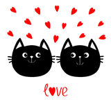 Two black cat head couple family icon. Red heart set. Cute funny cartoon character. Valentines day Love text Greeting card. Kitty Royalty Free Stock Images