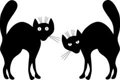 Two black cats. A vector illustration. Contour Stock Photo
