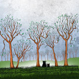 Two black cats. After exploring stand in a group of trees on a fall morning. Bare trees with a few remaining leaves surround them royalty free illustration