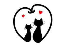 Two black cats in love. Cats in love with tails shaped heart stock illustration