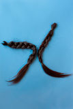 Two  black chopped-off braids of human hair Stock Images