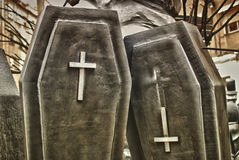 Two black coffins Royalty Free Stock Images