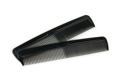 Two black combs for hair on white. Two black combs for hair isolated on white Stock Image