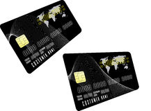 Two black credit cards. Plastic credit card vector pattern Royalty Free Stock Photo