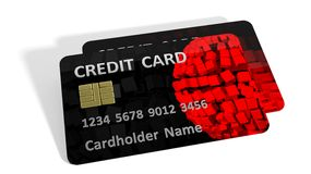 Two black credit cards Stock Photos