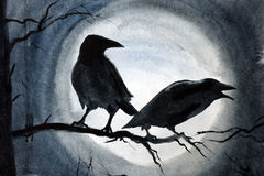 Two black crows on a branch. Two black crows on a tree branch Stock Image